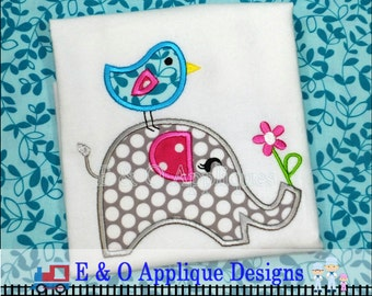Elephant Bird Applique Digital Design - Machine Embroidery Elephant and Bird Stacked Design - 4 sizes
