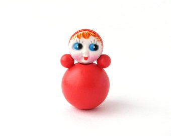 Roly Poly Doll, 6.5 cm, Nevalyashka, Cute Toy, Soviet vintage plastic toy, Souvenir, Nursery Decor, Made in USSR, 1980s