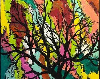 "Original 9"" X 12"" Acrylic Tree Painting on a canvas panel. ""Lorelei"""