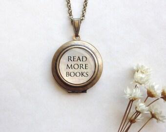 Read More Books Locket - Book Nerd Gift Brass Round Locket Necklace - Bookish Jewelry