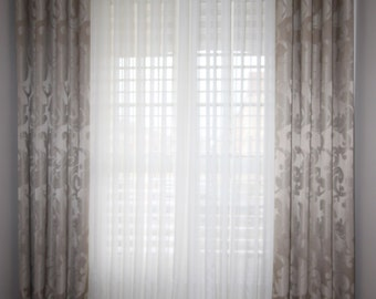 "Custom Drapes ""Sapphire-Taupe"", Grommet Panel, Biege Tones, Floral design drapes, Drapery Panels, Made-to-Order"