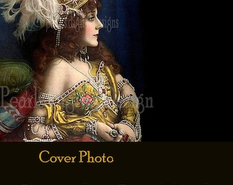 Cover banner, Never Enough Jewels, instant download, blank, 3360 x 840 pixels, vintage lady, headdress, jewelry, pearls, necklace bracelet