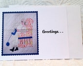 Note Card for Quilters, Vintage Quilted Lady Knitting, Knitter Quilt Picture Blank Flat Greeting Note Card, Collect Them