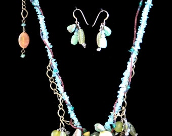 Organic Grapevine Mixed Material Necklace and Earrings