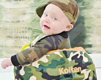 Monogrammed Bumbo Seat Cover - Camo with Orange Minky - Add Name or Initials Free - Boy or Girl