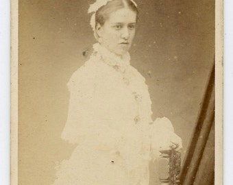 1870s Named Bridesmaid CDV Photo Carte de Visite Antique Vintage Victorian Fashion Wedding
