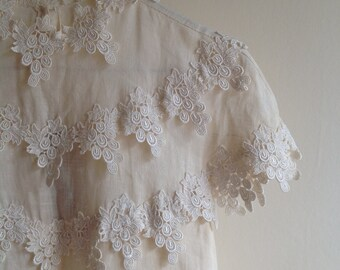 Vintage Cream White Lace Linen Dress (S/M)