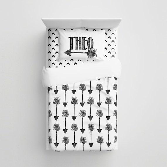 custom tribal arrows kids bedding personalized black white. Black Bedroom Furniture Sets. Home Design Ideas