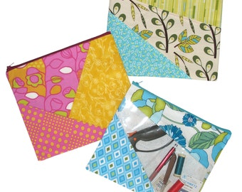 Jiffy Zipper Bags, PDF Makeup Bag Pattern, Small Bag Pattern, Instant Download Digital Pattern Zipper Bag Pattern