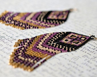 Fringe Earrings, Seed Bead Earrings, Beaded Earrings, Native American Beaded Earrings, Seed Bead Jewelry, Beadwork, Beaded Jewelry