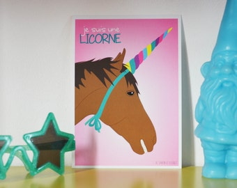 Unicorn card - horse like an unicorn