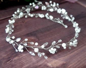 Long Bridal Hair Vine, Bridal Super Extra Long Pearl Hair Vine, Long Bridal Vine, Wedding Pearl Crystal Hair Vine, Pearl Crystal Hair Vine