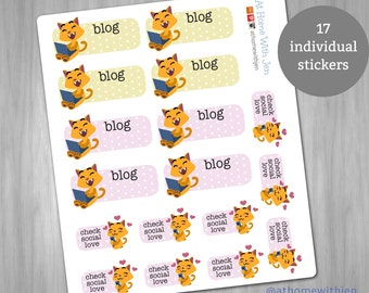 Kitty blog / social media reminder stickers for your Erin Condren Life Planner, Plum Planner, Filoflax