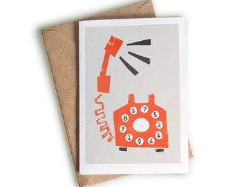 Retro Style Telephone Card, Vintage Objects, Mid Century Modern Style Design, Pop Art, Card Keeping in Touch, Quirky Illustrated Card