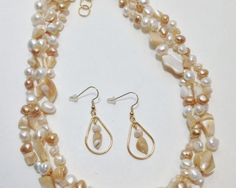 Gold Lip Shell, White and Gold Cultured Pearl, Faceted Glass, Non Tarnish Gold Tone Wire, Wire Crochet, Necklace, Earrings