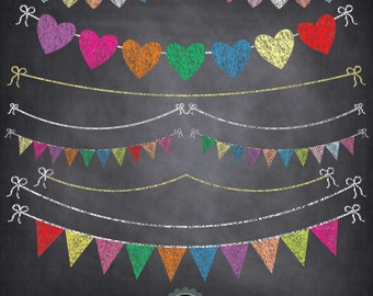 """Chalkboard Bunting Banner Clipart  """"BUNTING BANNER """" Flag clipart,Party Banner,Chalkboard Banner,Heart Shape Flag, Instant Download Ca048"""