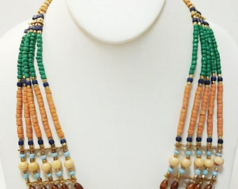 Multi Strand Wood Beaded Necklace / Brown, Green and  Gold Beaded Necklace.