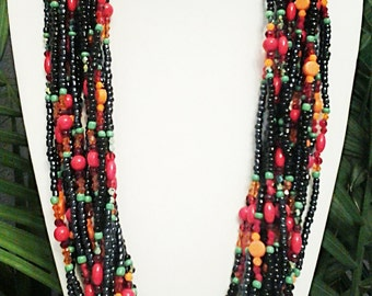 Black, Red, Blue and Orange Endless Infinity Beaded Long Necklace / Summer Long Necklace.