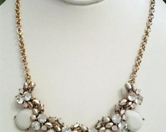 Old Gold Chain, White Teardrop with Crystal Clear Beads Necklace / Bib Necklace.