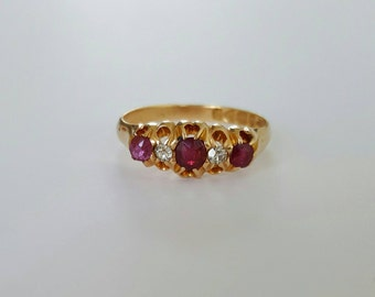 Antique 1903 ruby and diamond 18ct gold ring