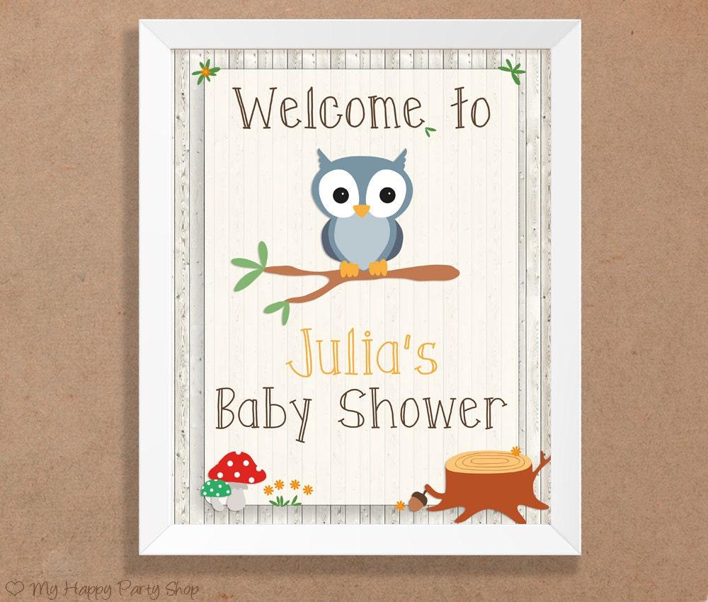 welcome baby shower sign woodland baby shower door sign