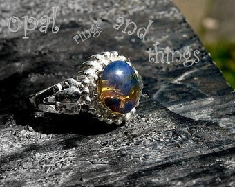 Dominican Blue Amber Ring, Sterling Silver Ring, UK Size N, Amber Ring