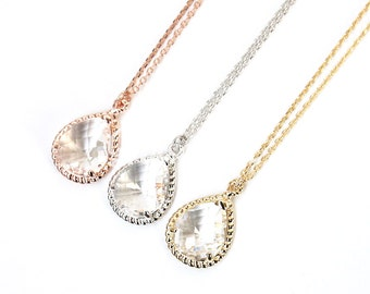 Clear stone necklace, Bridesmaid gift, Bridesmaid necklace, Wedding jewelry, Bridal necklace, Rose gold necklace, Maid of honor gift
