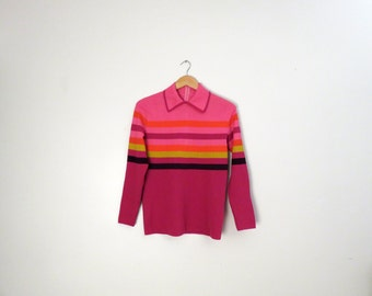 Vintage 1970's Striped Collared Blouse Size L