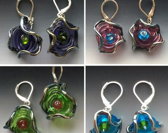 Octopus' Garden Earrings in Coloful Options: handmade glass lampwork beads with sterling silver components