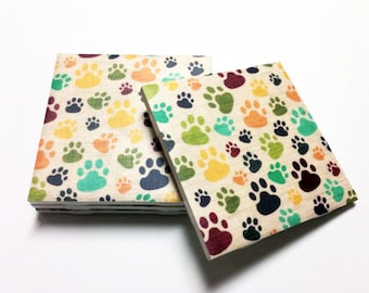Dog Print Coasters - Paw Print - Dog Lover Gifts - Drink Coasters - Tile Coasters - Ceramic Coasters - Table Coasters On Sale