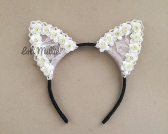 Ivory - Worn by Ariana Grande and Selena Gomez - Floral Cat Ears Nekomimi