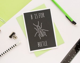 Beetle Card. Animal Alphabet Card. 100% Recycled Card & Envelope