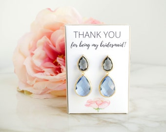 Light Blue and Gray Earrings, Bridesmaid Earrings, Serenity Earrings, Sky Blue Earrings, Light Blue Earrings, Bridesmaid Gift, Gift for Her