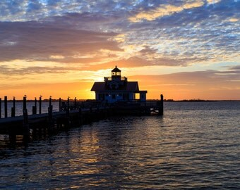 Marsh's Light Lighthouse in Manteo NC in the morning at Christmas.