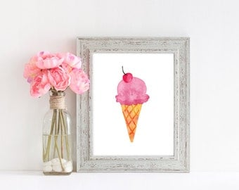 ice cream, ice cream print, watercolour print, girls room print, ice cream drawing, pink print, nursery print, instant download, digital
