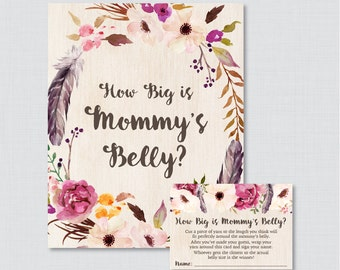 Boho Baby Shower How Big Is Mommy's Belly Game - Printable Baby Shower Belly Guessing Game, Guess Belly Size Feathers Flowers - 0043