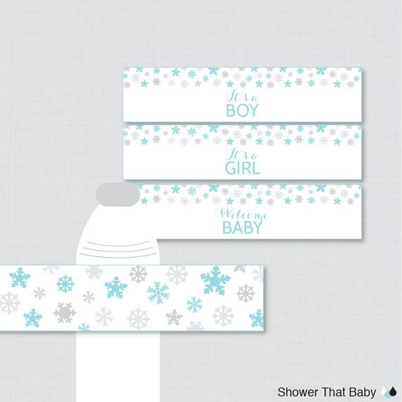 winter water bottle labels baby shower printable blue and gray