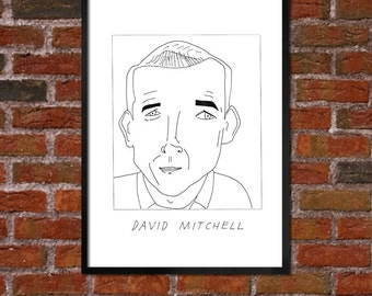 Badly Drawn David Mitchell - Literary Poster - *** BUY 4, GET A 5th FREE***