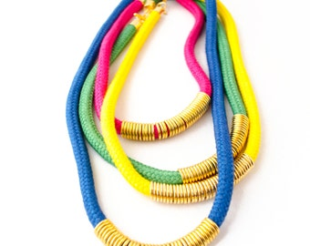 Color Block Cord necklace, Statement Necklace, Rope Necklace, Color Block Necklace