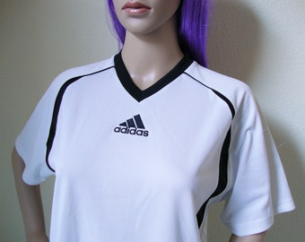 ADIDAS WHITE TSHIRT -health goth, 90s, cyber, vapor wave, sad boys, gothic, sporty, sportswear, training, jersey, v neck, kappa-