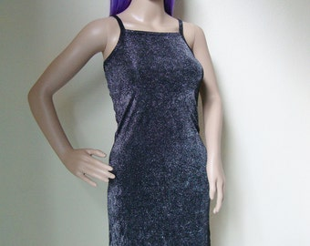 SALE // shiny silver glitter tank party dress / festivals / gothic / 90s / 80s / club kid / prom night / clueless / cute