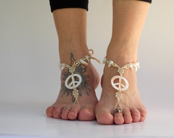 Peace Barefoot Sandals, Barefoot Jewelry, Bare Sandals, Women Sandals, Pearl Sandals, Beach Shoes, Women Footwear, Soleless, Bottomless
