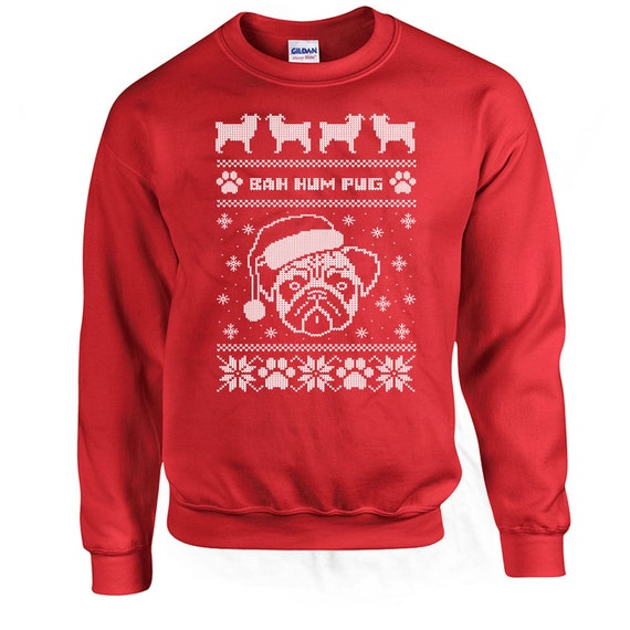 Ugly Christmas Sweatshirt Bah Hum Pug Pug Sweater Christmas
