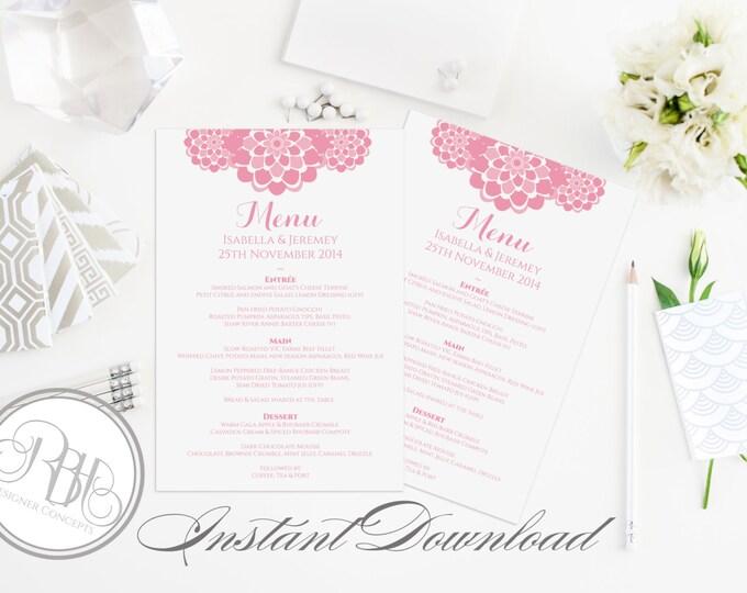 """Pink Peonie Menu Template INSTANT DOWNLOAD -DIY Yext Editable Only- Pink Peonies Design - """"Belinda Menu Card"""""""