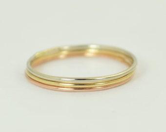 Solid 14K White, Rose & Yellow Gold Round Ring Set, Thin Stacking Ring, Minimal Gold Rings, Gold Stacking Rings, Solid Gold Rings, Ring set