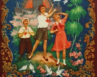 Artist Bokarev. Vintage Soviet Postcard - 1959. Izogiz Publ. Dove, Pigeon, Bird, Pioneer, Red tie, Palekh, Communist propaganda