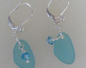 Small Sea Glass Earrings with Swarovski