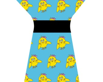 Bespoke Blue Yellow Funky Chicken Chick Easter Cute Tunic Dress - Custom printed fabric!