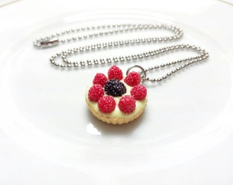 Berry Tart Necklace, Fruit Tart Studs, Fruit Tart Charm, Fruit Tartled Ring, Miniature Food Jewelry, Food Charms, Food Necklace, Food Studs