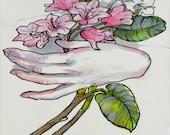 Rhododendron, Botanical Illustration, Original Ink Drawing